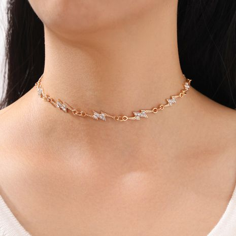 new single-layer electroplating diamond-studded lightning women's necklace wholesale nihaojewelry NHPV243724's discount tags