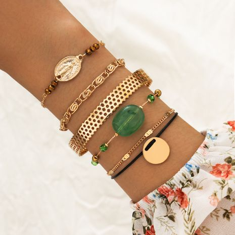 new embossed head gold disc green beaded open six 6-piece alloy bracelet NHPV243729's discount tags