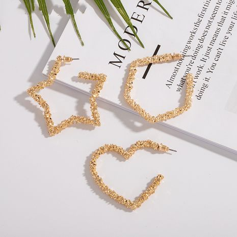 exaggerated new geometric creative new ore crystal peach heart  earrings wholesale NHAI242873's discount tags