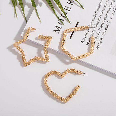 exaggerated new geometric creative new ore crystal peach heart  earrings wholesale NHAI242873's discount tags
