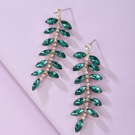 Alloy glass diamond  leaf earrings NHMD243753's discount tags