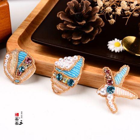 Pegatinas de tela con cuentas hechas a mano, ropa de estrella de mar del océano, accesorios para la cabeza, bolsa, pegatinas, broche NHNK243756's discount tags