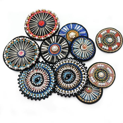 handmade beaded round badge clothing coat bags shoes decorative accessories stickers NHNK243762's discount tags