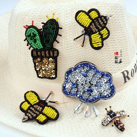 handmade beaded brooch embroidery bee cartoon dragonfly flower patch pins wholesale nihaojewelry NHNK243763's discount tags