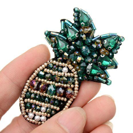 Accesorios de etiqueta de tela de broche de piña de cristal bordado a mano francés NHNK243766's discount tags