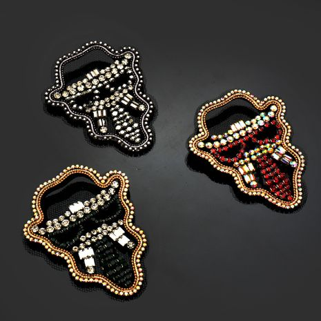 New craft silk rhinestone skull cloth stickers clothes bags shoes hats accessories NHNK243768's discount tags