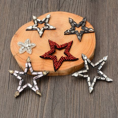 Handmade nail drill five-pointed star cloth stickers small cartoon color patch wholesale nihaojewelry NHNK243771's discount tags