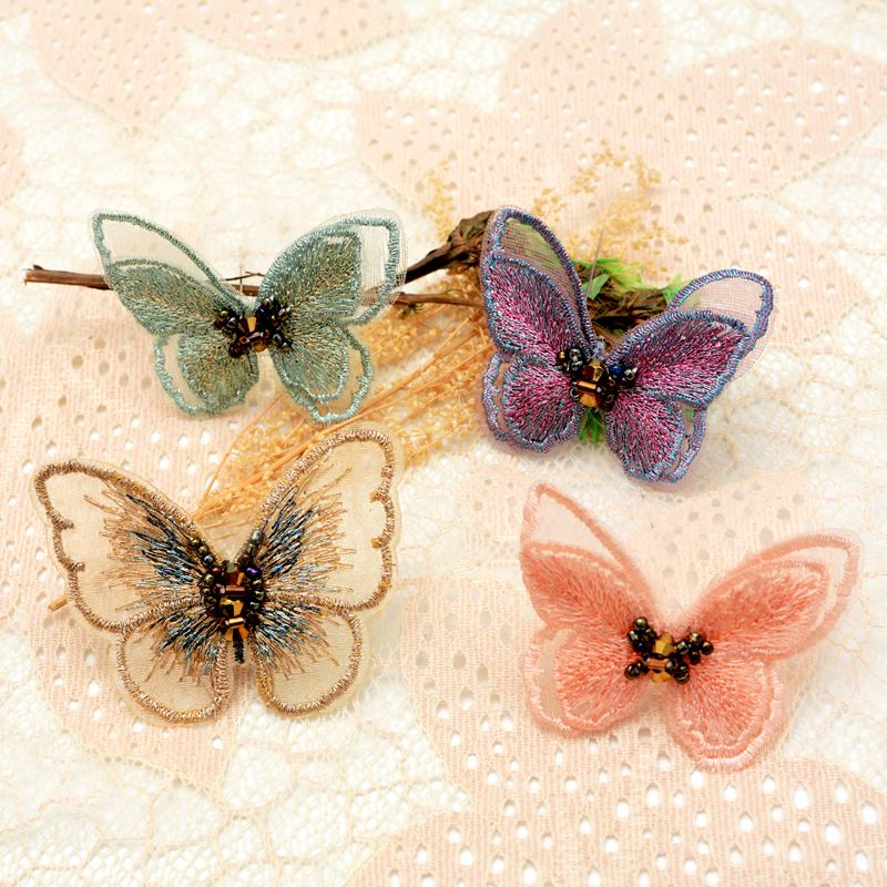 Beaded organza embroidery butterfly handsewn handmade clothes patch stickers NHNK243772