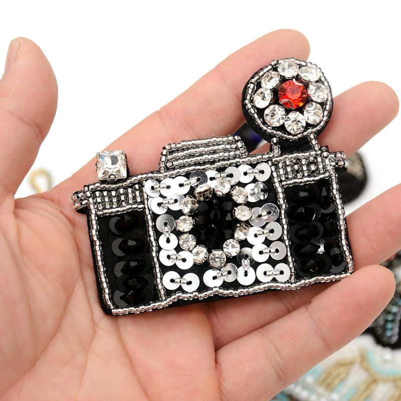 Handmade beaded rhinestone sequin hand-sewn clothing beaded diy clothes patch stickers wholesale nihaojewelry NHNK243774