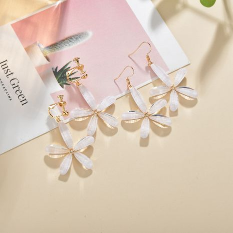 Fashion new White flower long Korean sweet  all-match alloy earrings NHBQ243775's discount tags