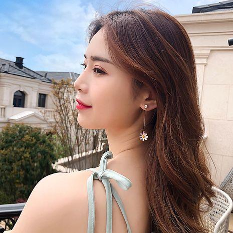 S925 silver needle Korean wild small daisy long alloy earrings  NHBQ243776's discount tags
