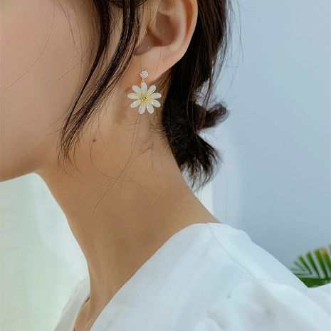 Korean daisy flower sterling silver new trend simple wild alloy earrings  NHBQ243779's discount tags