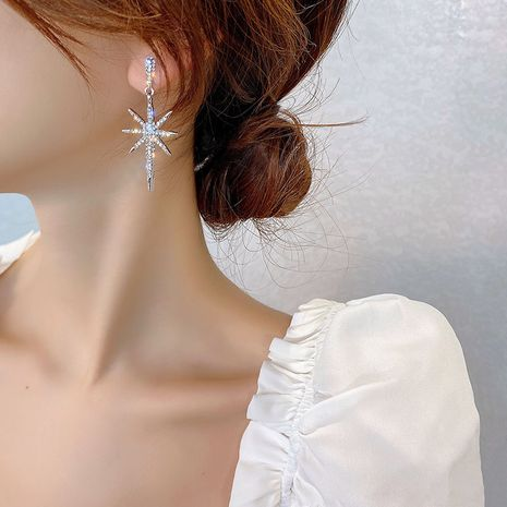 Korea's new S925 silver needle alloy meteor trendy eight-pointed star alloy  earrings NHBQ243780's discount tags