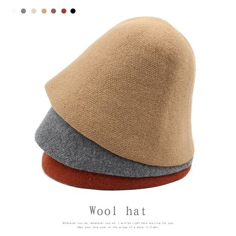 Fashion winter wild pure color basin Korean British retro black wool bucket Fisherman hat  NHXO243786's discount tags