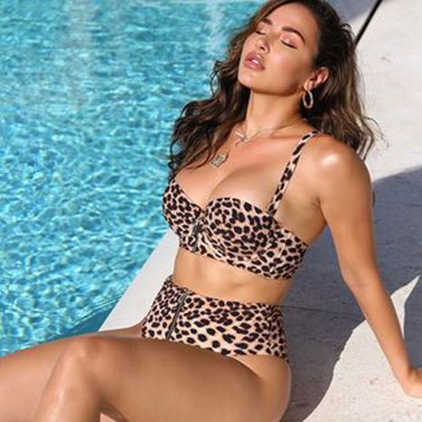 new leopard pattern steel support split sling swimwear bikini wholesale  NHZO243796's discount tags
