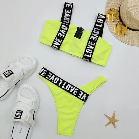 New Split Zipper Swimsuit Solid Color Women's Bikini wholesale nihaojewelry NHZO243802's discount tags