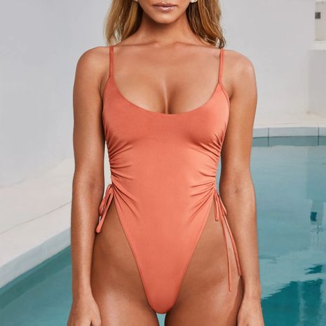 hot sale solid color high fork adjustable bikini one-piece swimsuit wholesale NHZO243823's discount tags