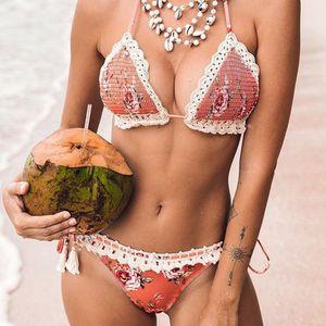 sexy  hand-woven printed split bikini wholesale  NHZO243845