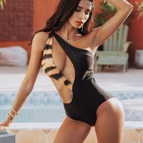 Fashion hot sale one-shoulder sexy ladies one-piece swimsuit whlolesale NHZO243892's discount tags