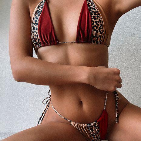 leopard pattern stitching bandage sexy swimsuit bikini wholesale nihaojewelry NHDA243895's discount tags