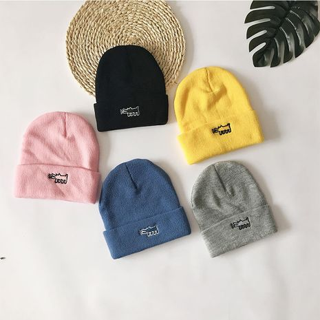 Cartoon Puppy Winter New Wild Embroidery Couples Woolen Hat Outdoor Cold-proof Knitted Hat  NHTQ243898's discount tags
