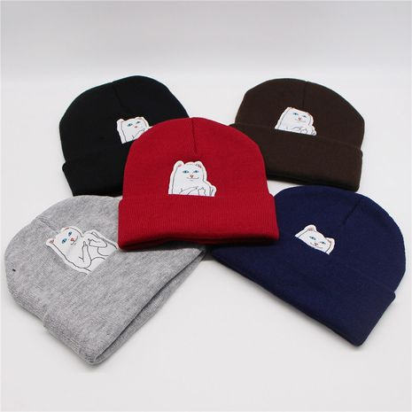 Cat vertical middle finger new autumn street knitted winter woolen hat wholesale NHTQ243899's discount tags
