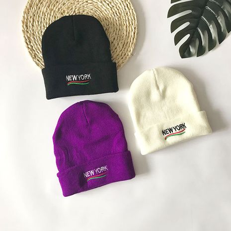 Fashion embroidery knitted new wild outdoor cold warm  couple winter cap NHTQ243901's discount tags