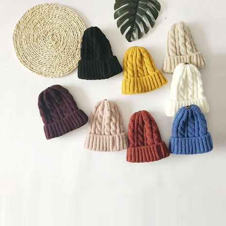 Korean wild outdoor thickened warm solid color twist new parent-child woolen hat  NHTQ243902's discount tags