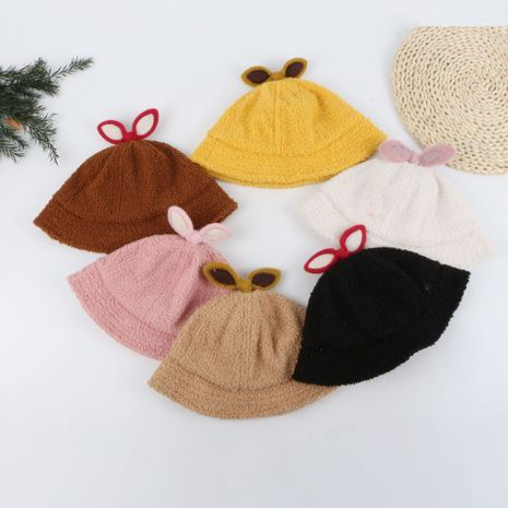 Bow Teddy Fleece Fisherman Short-brimmed Sun Hat wholesale nihaojewelry NHTQ243907's discount tags