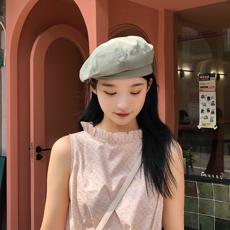 Fashion new solid color octagonal Korea ladies beret hat NHTQ243912's discount tags