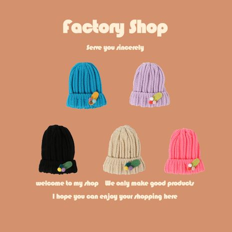 Thick thread woolen fashion knit hat baby warm hat wholesale nihaojewelry NHTQ243916's discount tags