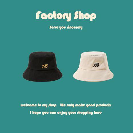 Korean simple embroidery digital women's fishman sun hat basin hat wholesale NHTQ243918's discount tags