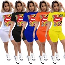 new letter pattern texture casual sports shorts twopiece set wholesale nihaojewelry NHYF243927