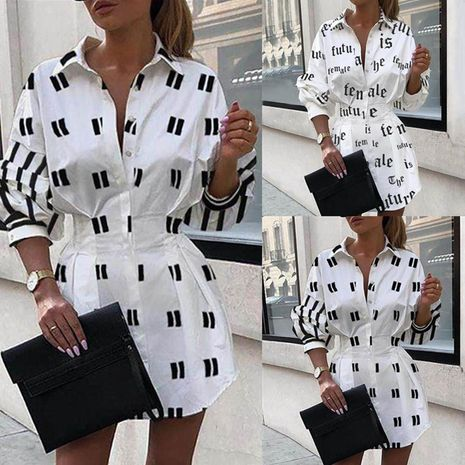 Fashion women's autumn new wild printed waist lantern sleeve shirt NHYF243928's discount tags