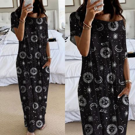 women's fashion autumn new butterfly print short-sleeved long dress wholesale NHYF243932's discount tags