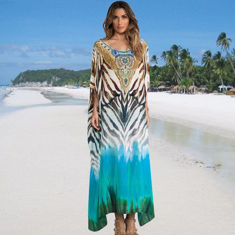 New leopard dot printing loose robe beach  blouse seaside dress wholesale nihaojewelry NHXW243938