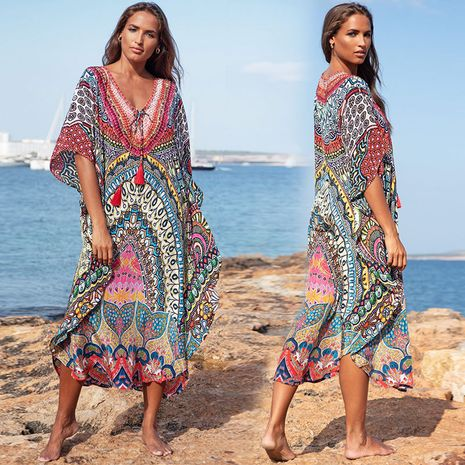 Oversized long skirt new seaside beach blouse swimsuit bikini outer robe wholesale nihaojewelry NHXW243939's discount tags