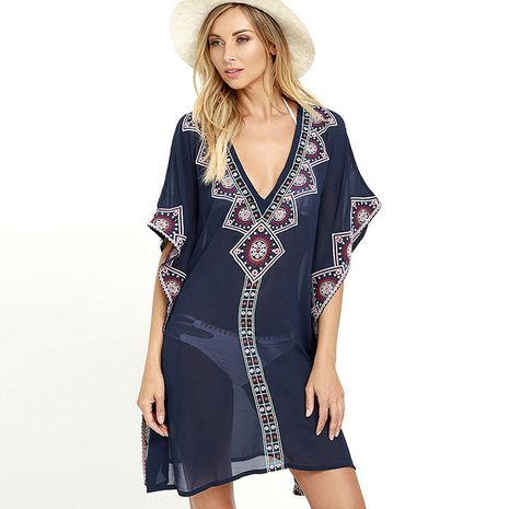 blouse chiffon embroidered sunscreen beach jacket V-neck dress wholesale nihaojewelry NHXW243942's discount tags