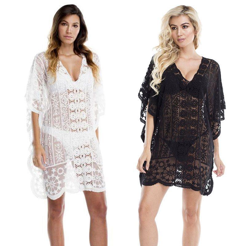 new hollow lace sexy loose sunscreen beach blouse swimsuit bikini wholesale nihaojewelry NHXW243943