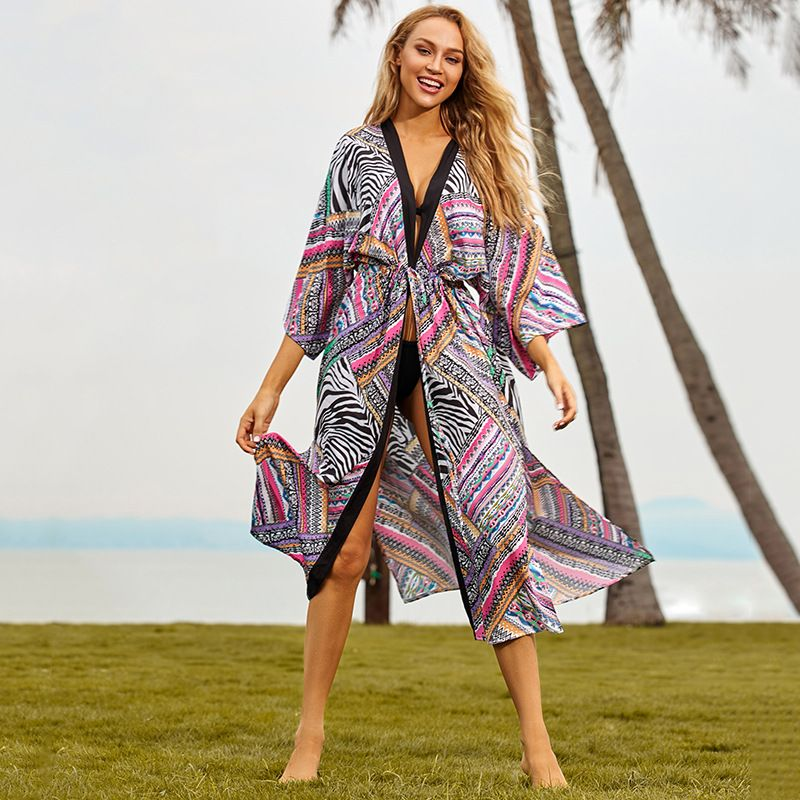 New black-rimmed rose red cardigan loose seaside vacation dress wholesale nihaojewelry NHXW243948