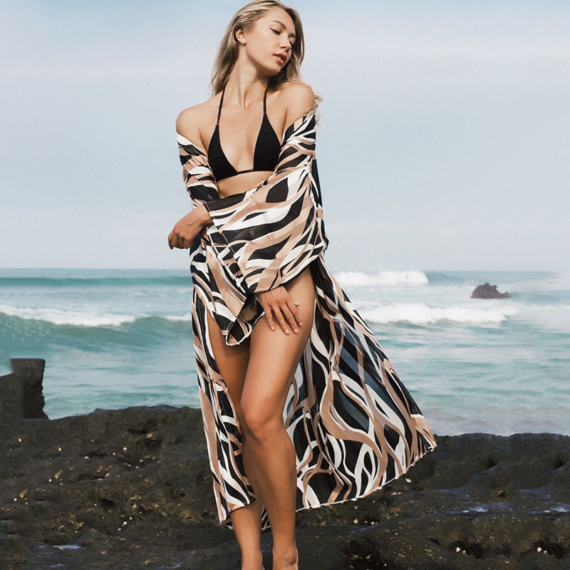 black coffee zebra stripe imitation silk beach skirt bikini blouse wholesale nihaojewelry NHXW243950