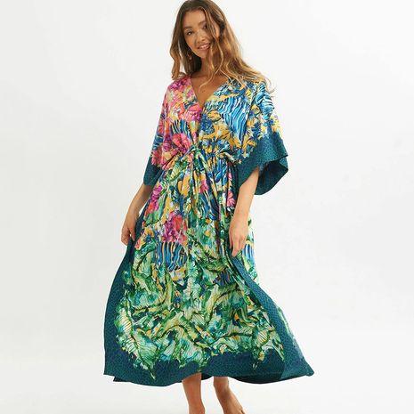 The new dark green robe beach dress sunscreen beach vacation bikini blouse wholesale nihaojewelry NHXW243951's discount tags