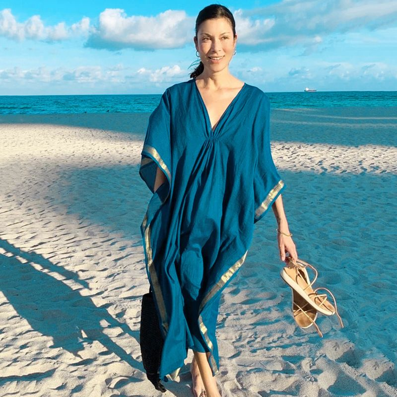 new style long blue edge bronzing long dress beach  blouse wholesale nihaojewelry NHXW243955