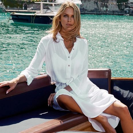 New chiffon wrinkle shirt loose beach blouse wholesale nihaojewelry NHXW243957's discount tags