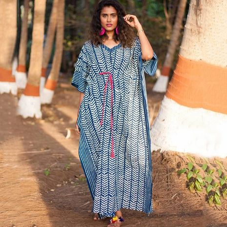 New geometric pattern long skirt beach loose large size robe style blouse wholesale nihaojewelry NHXW243958's discount tags