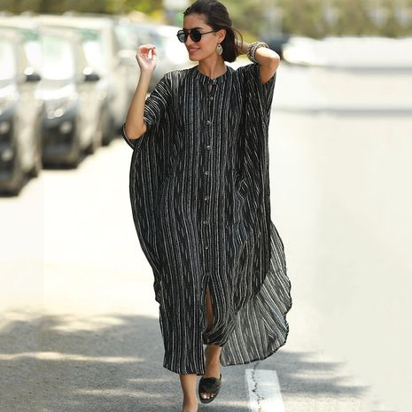 New black and white strip pocket loose seaside vacation cardigan blouse wholesale nihaojewelry NHXW243959's discount tags