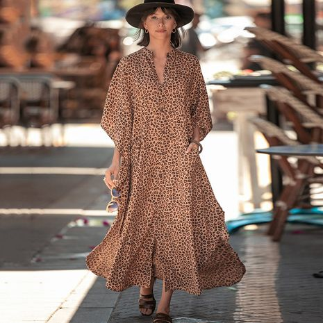 New Leopard Dot Cardigan Vacation Long Skirt Beach Cover dress wholesale nihaojewelry NHXW243960's discount tags