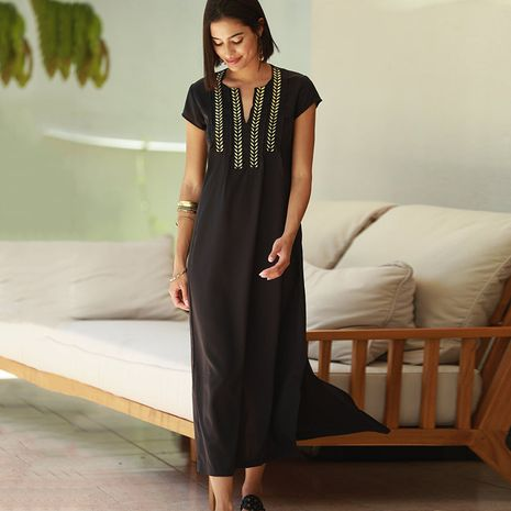 new style golden black long dress vacation gown bikini long blouse wholesale nihaojewelry NHXW243962's discount tags