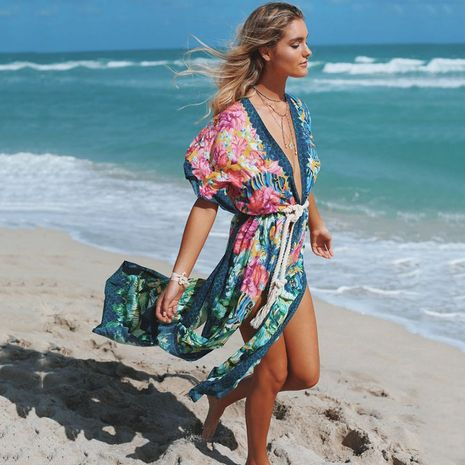 The new dark cardigan loose large size beach sunscreen bikini blouse wholesale nihaojewelry NHXW243963's discount tags