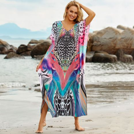 New beach blouse colorful leopard dot printing robe seaside vacation long skirt wholesale nihaojewelry NHXW243964's discount tags